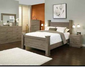 BRAND NEW 4 PC QUEEN SIZE BEDROOM SET BED DRESSER MIRROR NIGHTSTAND NEW FURNITURE ADD MATTRESS AVAILABLE USA MEXICO FURNITURE for Sale in Chino, CA