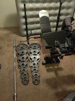 Full Olympic weight set, Bench and Bar for Sale in Lacey, WA