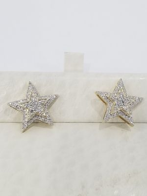Black Friday Special Real 10k Yellow Gold Diamond Iced out Double stacked Star Earrings for Sale in Richmond, TX