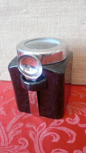 $2 Black Kitchen Storage Container Canister with Spoon for Sale in Hemet, CA