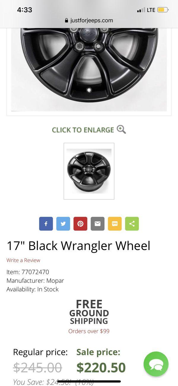 "17"" TIRES—— $800 OBO for (5)-17"" Bridgestone Tires 245/75R17 with (5)OEM 17"" Mopar wheels"