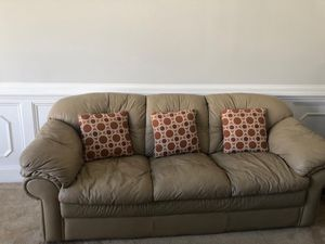 Khaki leather two piece sectional couch, I'm asking $350.00 in very good condition for Sale in Nashville, TN