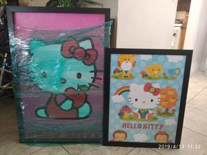 2 Hello Kitty pictures for bed room girls decoration. for Sale in Lighthouse Point, FL