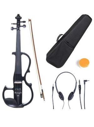 Cecilio 4/4CEVN-2BK Solid Wood Electric/Silent Violin with Ebony Fittings in Style 2 - Full Size - Black Metallic for Sale in Lancaster, CA