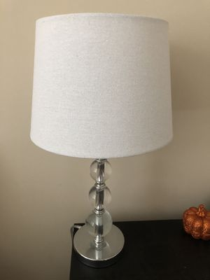 Mirrored lamp with white lamp shade for Sale in Cary, NC
