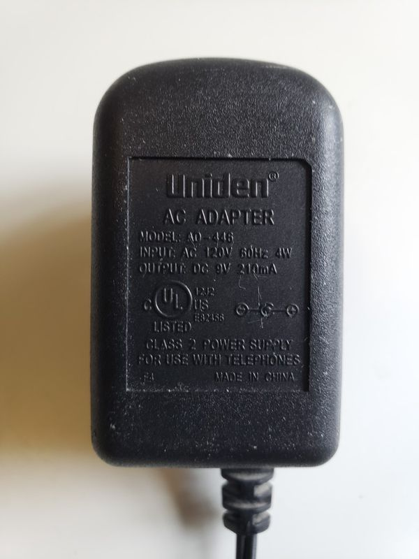 Uniden AD-446 Class 2 Power Supply AC Adapter Output DC 9V 210mA for Telephones.