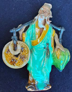 "Antique standing chinese art pottery mudman mud man figurine 5"" H x 4"" W for Sale in Saginaw, MI"