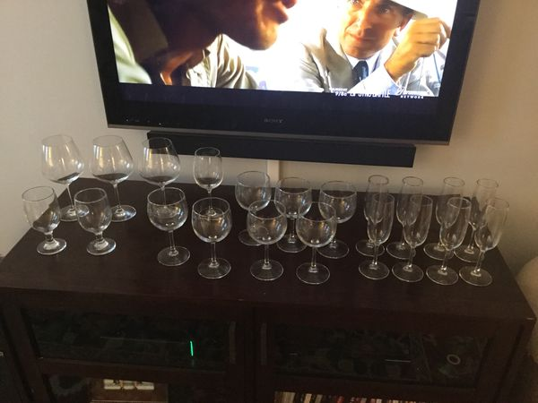 All the glasses for one price. $15.00. Wine, champagne, etc.... buy it all for one price