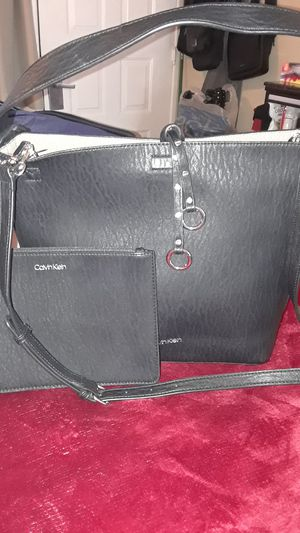 d8baec628 San Jose, CA. Authentic Calvin Klein black leather purse crossbody tote  with attached makeup purse for Sale in Milpitas