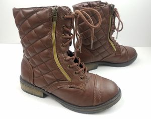Steve Madden Youth Girls Quilted Brown Combat Boots Size 3 for Sale in Walton Hills, OH