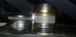 Canon lens 50mm, rokinon 8mm fisheye for Sale in Las Vegas, NV