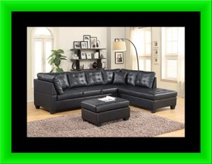 Black sectional with free ottoman and delivery for Sale in Ashburn, VA