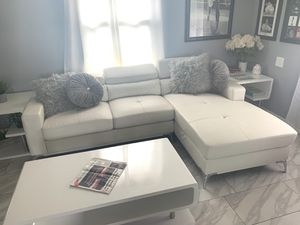 White modern leather sectional sofa couch for Sale in Chino Hills, CA