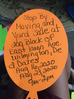 Moving & Yard Sale for Sale in Wilmington,  DE