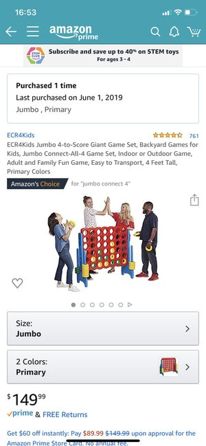 ECR4Kids Jumbo 4-to-Score Giant Game Set, Backyard Games for Kids, Jumbo Connect-All-4 Game Set, Indoor or Outdoor Game, Adult and Family Fun Game, E for Sale in Bothell, WA