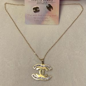 CC Gold Stainless Steel Necklace & Earring Set for Sale in Fitchburg, MA