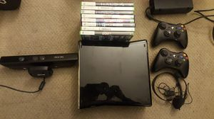 XBOX 360 with 8 games, Kinect, 2 controllers, and headset for Sale in San Diego, CA
