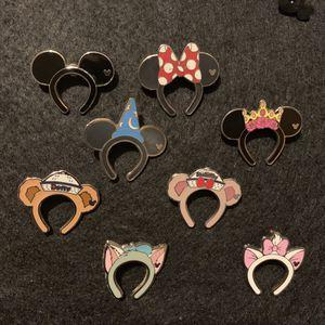 Disney HKDL Hidden Mickey ears headband set of 8 pins for Sale in Anaheim, CA