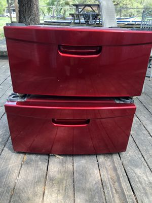 Red front load washer/dryer pedestals for Sale in San Antonio, TX