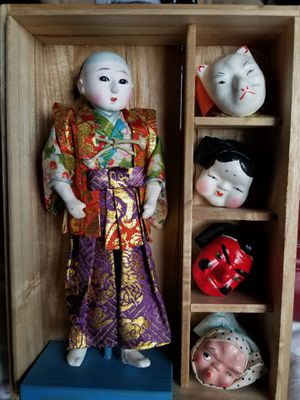1950s Japanese mask dance doll in porcelain with exchangeable masks for Sale in Hampden, ME