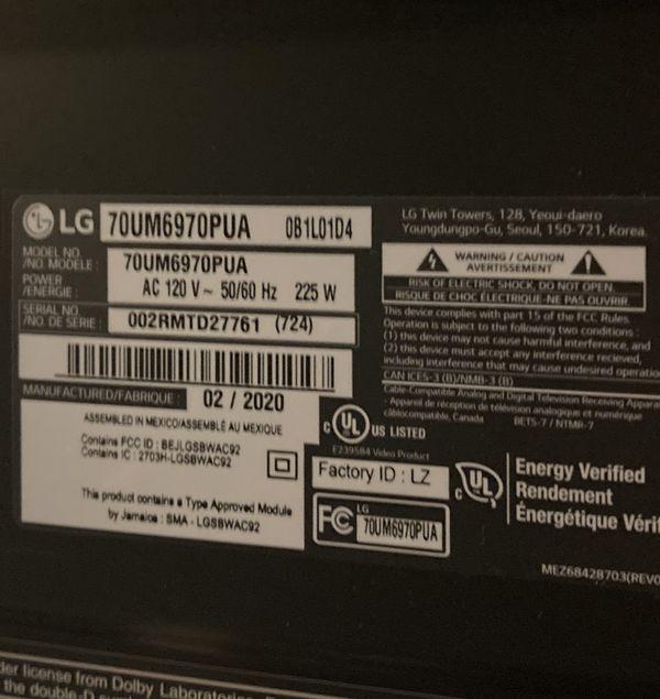 70in LG 4K UHDR Smart TV