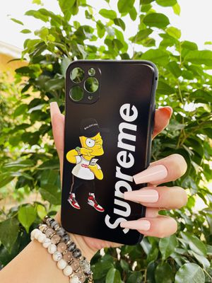 Brand new cool iphone 11 PRO MAX 6.5 cover phone case rubber silicone bart Simpson supreme collab girls guys womens mens hypebeast hype fundas for Sale in San Bernardino, CA