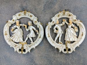 "Vintage Chalk Art. Universal Statuary Corp 1961 plaster. Highly collectible. Two wall hangings each 14 1/2"" x 13 1/2"" x 2"" . In excellent condition. for Sale in Phoenix, AZ"