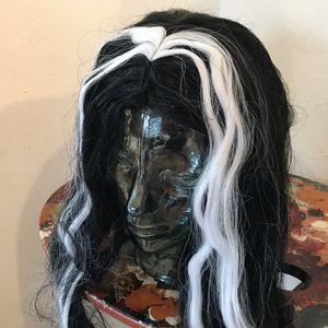 Halloween Vampiress Streaked Black And White Wig 24 Inch Long Funworld for Sale in Golden, CO