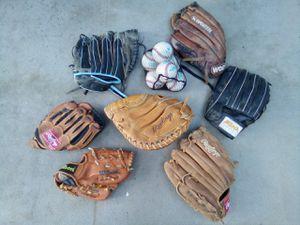 Lot of 7 baseball gloves + 6 new basrballs for Sale in Martinez, CA