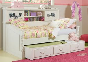White Twin Day Bed with Bookcase and Trundle for Sale in Bonney Lake, WA