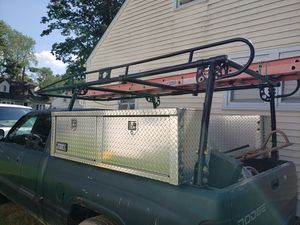 Ladder rack adjustable 6'and 8' bed and 2 tool boxes Jobox and a reese towing for Sale in Yardley, PA