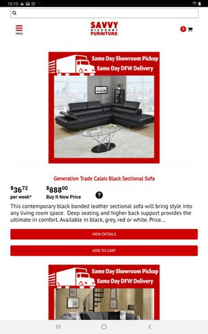 Generation Trade Calais Black Sectional Sofa for Sale in Carrollton, TX