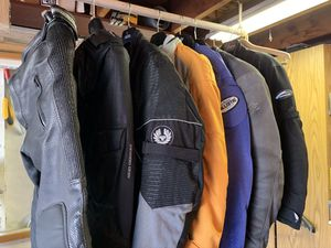 Assorted top-quality motorcycle gear - BMW leather suit, Joe Rocket summer jacket, Gericke mid-weight jacket, leather pants. Make offer. Must sell. for Sale in San Diego, CA