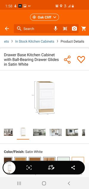 Hampton Bay Hampton Assembled 18x34.5x24 in. Drawer Base Kitchen Cabinet with Ball-Bearing Drawer Glides in Satin White for Sale in Dallas, TX