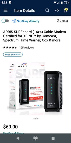 ARRIS SURFboard (16x4) Cable Modem Certified for XFINITY by Comcast, Spectrum, Time Warner, Cox & more for Sale in Houston, TX