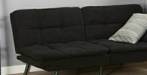 BLACK SUEDE SOFA FUTON BED FULL SIZE for Sale in Brooklyn,  NY