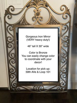 Large heavy Scollwork iron wall mirror for Sale in Glendale, AZ