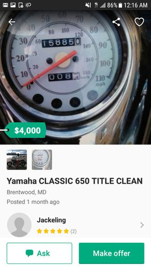 YAMAHA CLASSIC 650 TITLE CLEAN for Sale in Washington, DC
