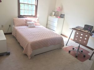 Full size bedroom set: bed frame dresser desk chair and nightstand for Sale in Wexford, PA