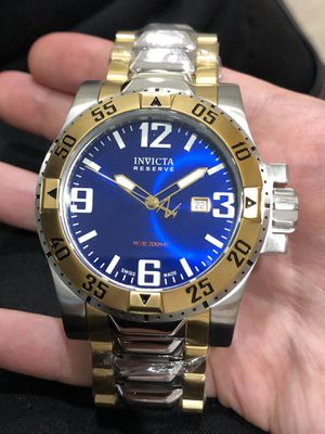 $995 - Invicta Men's Reserve 18k Yellow Gold / Stainless Steel Bracelet Royal Deep Sea Blue Dial 50mm Case Swiss Made Watch Authentic for Sale in Queens, NY