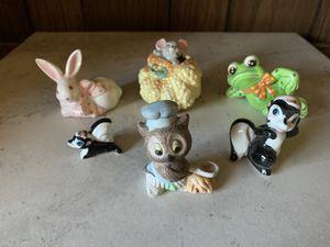 Lot of 6 Miniature Porcelain Figures Frog Owl Skunk Mouse Bunny Rabbit Figurines for Sale in Sacramento, CA