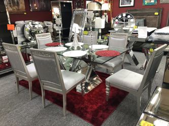 Silver Finish 7 Piece Dining Table Set 9IO44 for Sale in Irving,  TX