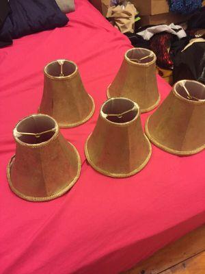 5 mini chandelier bulb shades gold for Sale in Malden, MA