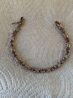 """Silver Purple Amethyst Stones Gold Tone Bracelet, 7.5"""" Long for Sale in Lynwood,  CA"""