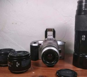 Minolta film cameras with ext. Lens 70-200. Mm 28mm 50mm for Sale in Aurora, CO