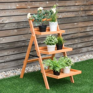 3 Tier Outdoor Wood Flower Folding Pot Shelf Stand for Sale in Wildomar, CA