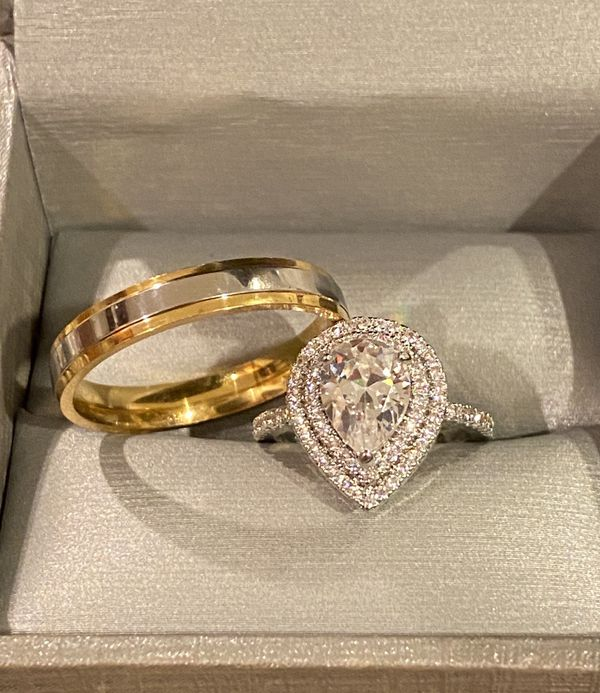 Stamped 925 Sterling Silver and 18K Gold plated Engagement/Wedding Ring Set - Code S12