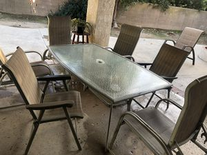 Patio furniture 6 piece chair set with table. for Sale in Chino, CA