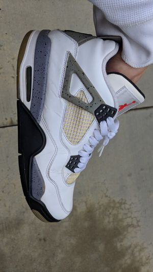 Size 7.5 men nike Air Jordan 4 retro white cement grey raiders 4s for Sale in Buena Park, CA