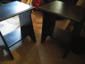 Two black wood tables/end table shelf 18in tall and 16in wide for Sale in Oak Park, IL
